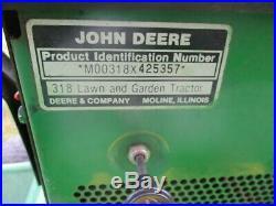 1987John Deere 318 Lawn Tractor, 46 Mower Deck, 54 Hydraulic Snow Blade