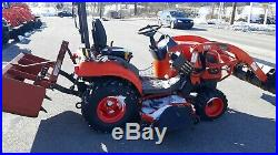 2013 KIOTI CS2410 COMPACT TRACTOR LOADER 60 mower 24 HP 4x4 hst used 346 HRS
