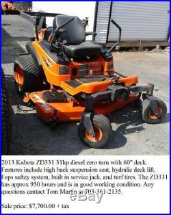2013 Kubota ZD331 31hp diesel zero turn mower with 60 deck