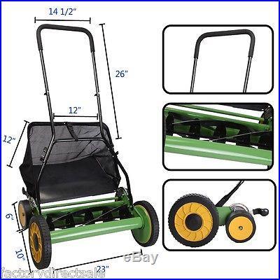 20 Height Adjustable Classic Hand Push Lawn Mower Reel Grass Catcher
