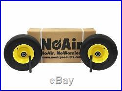 (2) John Deere Flat Free Wheel Assemblies 13x6.50-6 Yellow TCA19309 TCA16946