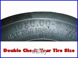 (2) Kubota Flat Free Tire Assemblies 15x6.00-6 Fits ZD321, ZD323, ZD326, ZD331