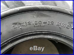 2 (pair) 26x12.00-12 Deestone 4P D405 26X12-12 Lug Tires 26/12-12 4 Ply