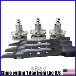 3 Blades 3 Spindles Set 48 Deck John Deere L120 L130 Mowers GX20250 GY20785