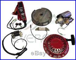 GX160 GX200 Electric Starter Motor Kit For Honda Recoil Ignition Coil Flywheel