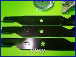 Husqvarna 54 Deck Lawn mower Rebuild Kit LGT2654 Spindles Blades Pulleys 196103