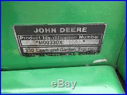 JOHN DEERE 330 DIESEL GARDEN TRACTOR 50 DECK 397hrs