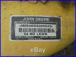 JOHN DEERE 425 445 455 LAWN GARDEN TRACTOR 54 INCH MOWER DECK ONLY 360 HOURS