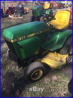 John Deere 317 Garden Tractor With Mower Deck Has Front Hydraulics Complete