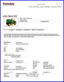John Deere 332 Diesel Garden Tractor with 54 Snow Blade, 3pt Hitch & 50 mower