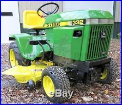 John Deere 332 Riding Lawn & Garden Tractor / Mower Yanmar Diesel with 46 Deck