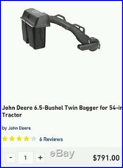 John Deere 6.5 Bushel Twin Bagger for 54 Tractor with Power Flow Retail $791