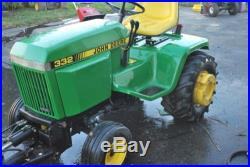 John Deere Model 332 Lawn And Garden Tractor. Less Than 500 Hours