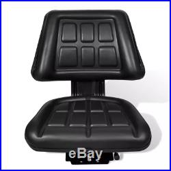Lawn Tractor Seat Garden Riding Mower With Backrest Steel PVC Adjustable Black