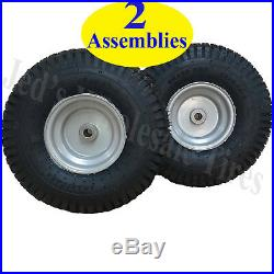 TWO 15x6.00-6 15x600-6 15/6.00-6 15/600-6 Lawn Mower Tire Rim Wheel Assembly 4pr