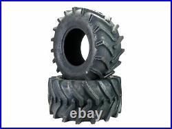 Two 26X12.00-12 26x12-12 OTR Lawn Trac Bar Lug Tires 4 ply Heavy Duty Lawn Mower