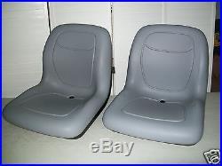 Two (2) Gray High Back Seats John Deere Gators, Bobcat 2200, 2200d, Club Car #kn