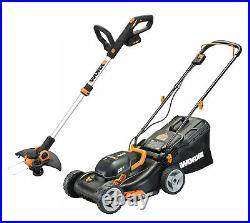 WORX WG911 2X20V 17 Lawn Mower Powershare with 12 Cordless GT Trimmer & Edger